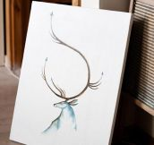 Minimalistic Painting Of A Stag