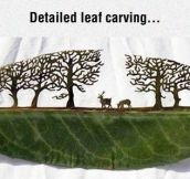 Incredible Art On A Leaf