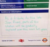 The underground has a sense of humour