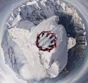 Drone-Selfie Of Climbers On The Summit Of The Matterhorn