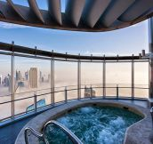 Enjoying A Hot Bath Above The Clouds