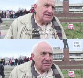 Old Man At Russian Protest In Crimea