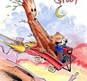 Rocket And Groot As Calvin And Hobbes