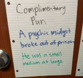 Freshman Dorm Complimentary Pun