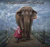 Little Girl And Her Elephant Friend