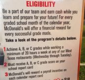 McDonald's Financial Reward To Students