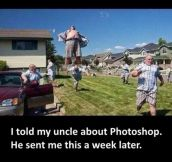 TELLING UNCLE ABOUT PHOTOSHOP.