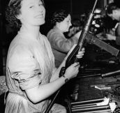 British Sten-gun assembly girl. Royal Armory photo, circa 1942.