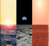 Venus, Earth, Moon, Mars And Titan