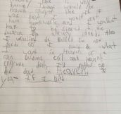 9 Year Old Kid Writes Extremely Creepy Essay