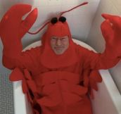 Sir Patrick Stewart In A Lobster Costume