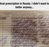 Russian Medical Prescription