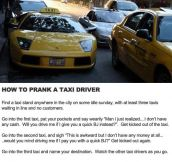 If You Want To Prank A Taxi Driver