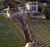 Here's a boulder that rolled through a house in Italy.