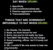 Impossible Things To Say When Drunk. This Is So True It Hurts.