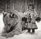 Bear And A Child In Russia