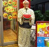 Colonel Sanders Wearing A Kimono