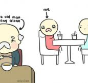Old Cute Man Eating Alone