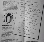Real child writes touching letter to Santa.