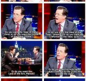 Tolkien Showdown In Colbert's Show