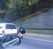 Roller Girl On The Highway