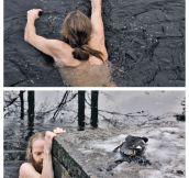 Norwegian man saving a duck