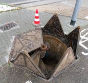 Manhole cover in Wiesbaden, Germany