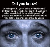 And Suddenly He Has 3D Perception