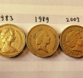 The Queen's Image Has Aged On Her Coinage During Her Reign
