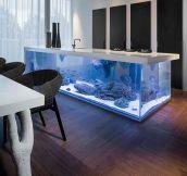 This Kitchen Island Has An Aquarium Inside It
