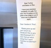 Sandwich Thief Must Pay