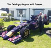 Formula One Car Made Of Flowers