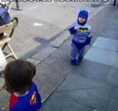 Tiny Batman Vs. Little Superman