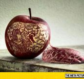 Apple Art Using A Knife