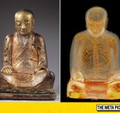Mummified Monk Inside A Buddhist Statue