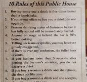 Dublin Pub's Ten Rules