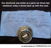 Lost Doorknob Finally Found