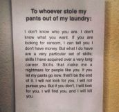 To The Laundry Thief