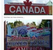 American Vs. Canadian Border Signs