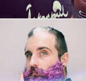 Covering Their Beards In Glitter To Celebrate The Holidays
