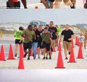 Marines Help A Boy Cross The Finish Line