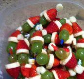 Easy Grinch Kabobs
