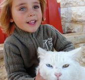 Afghan Girl And Her Cat, Those Beautiful Eyes