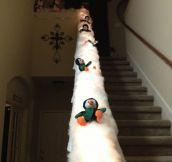 Turn Your Banister Into An Epic Penguin Slide