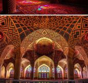 Majestic Mosque, Illuminated With All Of The Colors Of The Rainbow