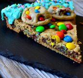 Delicious M&M Cookie Cake