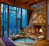 Perfect Indoor Jacuzzi And Fireplace