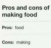 Making Food Pros And Cons
