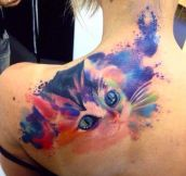 Purrfect Watercolor Tattoo