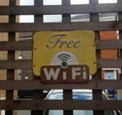 This pubs WiFi sign looks like it's from the 50s